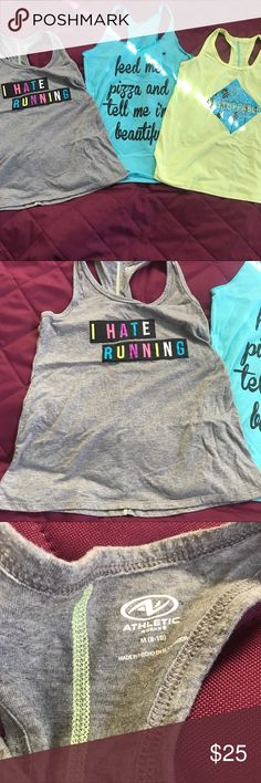 Lot of Workout Tanks Three tanks gently worn. Just don't fit me anymore. Love Fitness Apparel Tops Tank Tops