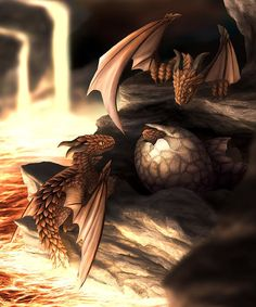 The eggs of a Volcano Dragon survive thousands of years.  Laid near a volcano the young dragons hatch once the volcano erupts and the eggs reach the right temperature through lava that flows past. After hatching the young dragons enjoy their first bath in the lava flow. ♥