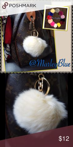 Genuine Rex Rabbit Fur Pompom Keychain CREAM This listing is CREAM Rex rabbit fur pom pom on chain...perfect for keychain or very trendy to hang on purse. 12 colors available! Red, Wine, Blue, Bright Pink, Peachy Pink, Magenta, Grey, Yellow, Black, White, Cream, and Lavender. Gold hardware. Rex rabbit is a very soft, short cropped fur. The pompoms vary slightly in size due to nature of working with natural fur... The average size measured across is 2.5 - 3 inches. Perfect gift for yourself…