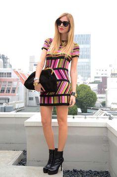 Missoni for Target dress!  Yves Saint Laurent boots  Miu Miu clutch  Celine sunglasses