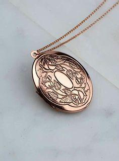 Rose Gold Locket Necklace Photo Mom Gift Antiqued Rose Gold