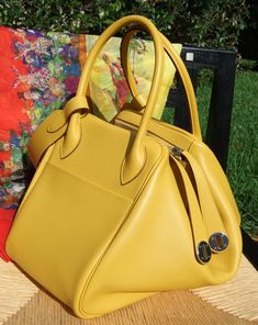 Hermes - yellow leather Lindy handbag
