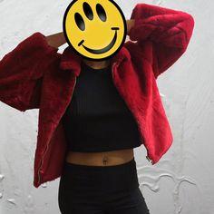 90's Rave Faux Fur Winter Coat / 1990's Grunge Furry Cropped Jacket / Red Cyber Club Kid Short Coat / Vegan Burning Man Festival Outerwear
