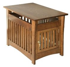 Amish Hardwood Campton Mission Pet Bed or End Table with Lockable Door Solid Wood Crafts and Toys Collection