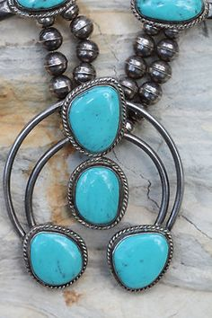 Vintage Navajo Sterling Silver Cripple Creek Turquoise Squash Blossom Necklace | eBay