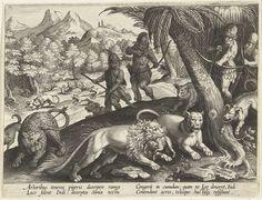 Jan Collaert (II) | Jacht op leeuwen en luipaarden met pijl en boog, Jan Collaert (II), Philips Galle, Cornelis Kiliaan, 1594 - 1598 | Een landschap met in de achtergrond een groep apen. Een leeuw valt een van de apen aan en wordt weggejaagd door jachthonden. Op de voorgrond worden leeuwen en luipaarden door jagers opgejaagd met pijl en boog. Een van de leeuwen heeft een aap in de muil. De prent heeft een Latijns onderschrift en is deel van een serie over jachttaferelen.