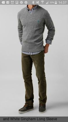 Men's Grey V-neck Sweater, Black and White Gingham Long Sleeve Shirt, Olive Corduroy Jeans, Charcoal Suede Boat Shoes Mode Outfits, Casual Outfits, Mens Fall Outfits, Casual Attire, Dress Casual, Olive Jeans, Herren Style, Look Man, Herren Outfit