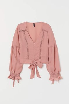 Fantastico V-neck Blouse with Buttons - Dusty rose - Ladies V Neck Blouse, Long Blouse, Kurta Designs, Blouse Designs, Modelos Fashion, Casual Outfits, Fashion Outfits, Lace Inset, Blouse Styles