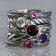Customized For You:  3mm Gemstones Stacking Ring, Family & Mother's Rings, Sterling Silver, amethyst, garnet, emerald, topaz, Custom made on Etsy, $40.00