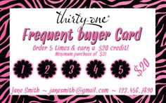 Thirty One Consultant - Frequent Buyer Card