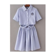 Blue Lapel Self-tie Bow Badge Patch Stripe Dress (£23) ❤ liked on Polyvore featuring dresses, skater dress, stripe dresses, blue dress, striped dress and short-sleeve maxi dresses