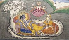 Vishnu reclining on shesha (anantasayana) Punjab Hills, North India, mid-19th century