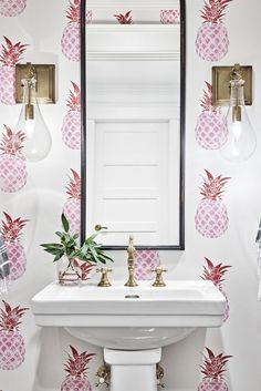Would have never thought I'd want pink pineapple wallpaper. Would have never thought I'd want pink pineapple wallpaper. Pink Pineapple Wallpaper, Pineapple Print, Pineapple Wall Decor, Pineapple Design, Gold Pineapple, Wc Decoration, House Decorations, Powder Room Wallpaper, Wallpaper Accent Wall Bathroom