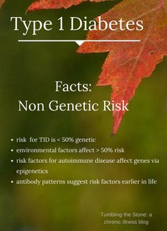 Environmental risk factors for type 1 diabetes (T1D) remain unclear. Risk is only half (or less) genetic.