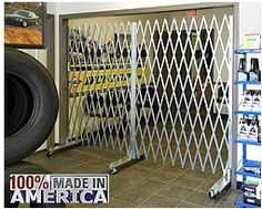 The Only Portable Security Gate Made With Heavy-Duty Galvanized Steel. That means they withstand year round weather like heat, rain and snow. They won't be harmed by harsh industrial chemicals or cleaners either