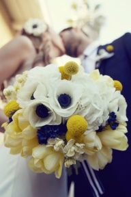 navy blue and yellow wedding bouquets -