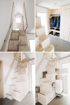 stairs not japanese - staircase Small Space Stairs, Space Saving Staircase, Small Spaces, Interior Stairs, Interior Design Living Room, Interior And Exterior, Loft Grenier, Tiny House Stairs, Stairways
