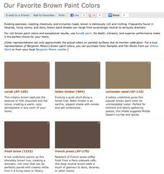 Favorite, popular, & best selling shades of brown paint colors from  Benjamin Moore.