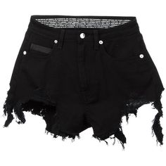 Marcelo Burlon County Of Milan 'Alin' distressed shorts (€335) ❤ liked on Polyvore featuring shorts, bottoms, pants, black, zipper shorts, destroyed shorts, distressed shorts, ripped short shorts and ripped shorts