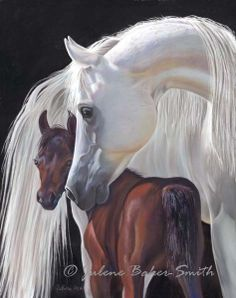 Legacy Arabian Mare and Foal Horse Fine Art by ArtByJulene on Etsy, $5.00