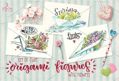 3 cute origami figures with flowers by Arina Hand drawn on @creativemarket