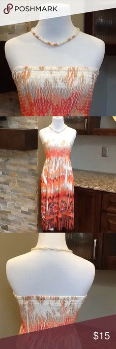 🔥Strapless Dress🔥 Pretty Strapless Dress with Different Shades of Orange. Ocean Breeze Dresses Strapless