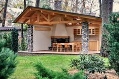 40 Outdoor Kitchen Pergola Ideas for Covered Backyard Designs Outdoor Garden Rooms, Outdoor Spaces, Outdoor Living, Outdoor Decor, Parrilla Exterior, Gazebos, Covered Pergola, Backyard Makeover, Outdoor Kitchen Design
