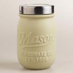 Ivory Ceramic Mason Jar  at Cost Plus World Market >> #WorldMarket Cooking - Dining, Baking, Kitchen Accessories