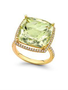 KIKI MCDONOUGH Diamond, lemon-quartz & gold ring