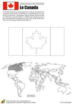 Le drapeau bicolore du Canada, à colorier avec la carte du monde