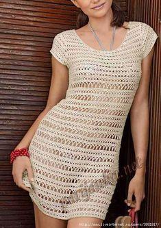 Crochetemoda: Crochet - Vestido Bege XI