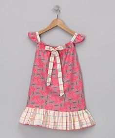Take a look at this Pink Butterfly Angel-Sleeve Dress - Toddler & Girls by Beary Basics on #zulily today!