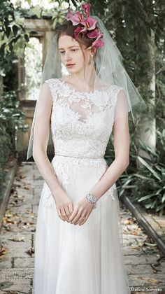 """Maggie Sottero Fall 2015 Wedding Dresses   Wedding Inspirasi   """"Elka"""" -- Embroidered Lace & Tulle A-Line Wedding Gown With Illusion Lace Bateau Neckline, Low V Cut Back, Thin Braided Belt At Natural Waist, Soft, Flowing Skirt, Court Train^^^^"""