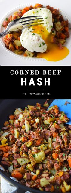 Easy corned beef hash topped with a poached egg.