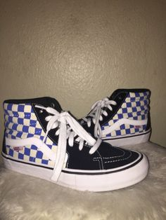 aa7848485cb Womens Blue Checkerboard Vans  fashion  clothing  shoes  accessories   womensshoes  athleticshoes (ebay link)