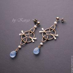 Купить Flandria - голубой, серьги, wire wrap, халцедон, старинные украшения, жемчуг, подарок, латунь