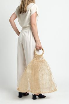 Vintage 60s Sheer Woven Straw Market Tote with Round Handles e9b73ed9da2ae