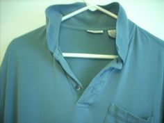 Men's VAN HEUSEN Blue Short Sleeve Polo Golf Collar Shirt Size L 100% Cotton