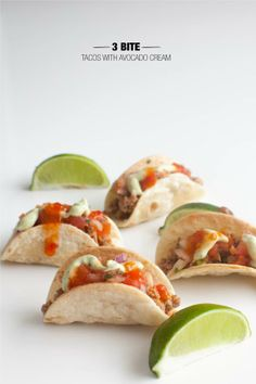3 Bite Tacos with Avocado Cream-You use a cookie cutter to make the shells from tortillas. Genius!