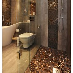 Penny flooring and wall panel. Love copper in bathrooms