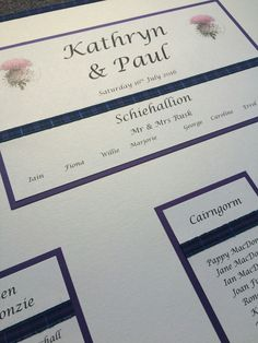 Scottish thistle themed wedding table plan board with a purple colour theme