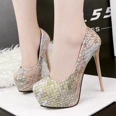 f9ab53ab56d19 Plaid High Platform Round Toe Stiletto High Heels