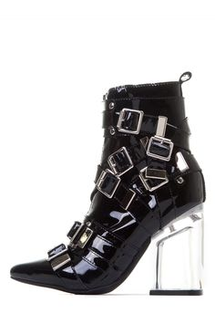 Jeffrey Campbell Shoes OSPREY in Black Patent Silver Clear