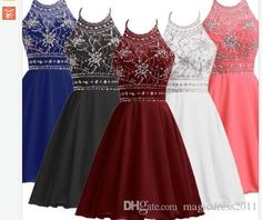 Cheap Black Burgundy Coral Blue Party Homecoming Dresses 2016 A-Line Halter Beaded Crystal Chiffon Short Mini Prom Formal Gowns Celebrity Dress for Party 2015 Evening Gowns Beaded Formal Gown Online with 79.0/Piece on Magicdress2011's Store | DHgate.com