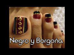 Negro y borgoña Decoración Otoño e Invierno para uñas de los pies/Easy t...