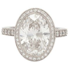 Preowned Tiffany & Co. 4.78 Carat Custom Oval Diamond Platinum Ring ($165,000) ❤ liked on Polyvore featuring jewelry, rings, engagement rings, multiple, pre owned rings, platinum diamond rings, round ring and pre owned diamond rings