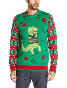 Blizzard Bay Men's Timmy the T-Rex Ugly Christmas Sweater, Green/Red, Small