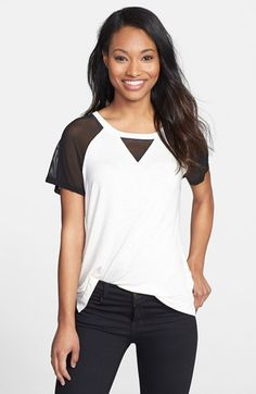 Pleione Mesh Sleeve Knit Top available at #Nordstrom