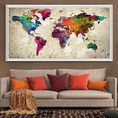 27888 large wall art world map canvas print custom world map extra large wall art modern colorful world map map push p https gumiabroncs Image collections
