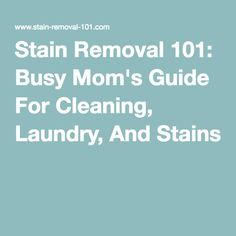 Stain Removal 101: Busy Mom's Guide For Cleaning, Laundry, And Stains